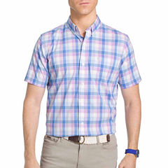 IZOD Advantage Perfromance Short Sleeve Plaid Button-Front Shirt