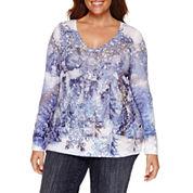 Unity World Wear Snowy Wonderland  V Neck T-Shirt-Plus