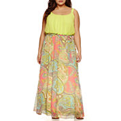 Robbie Bee Sleeveless Chiffon Maxi Dress-Plus