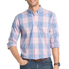 IZOD Advantage Prefromance Stretch Long Sleeve Plaid Button Front Shirt