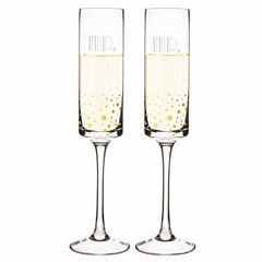 Cathy's Concepts Mr. & Mr. Gatsby Gold Dot Contemporary 2-pc. Champagne Flutes
