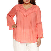 Alyx 3/4 Bell Sleeve Peasant Top-Plus