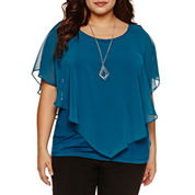 Alyx Short Sleeve Woven Overlay Blouse with Necklace-Plus