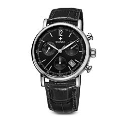 SWIZA ALZA Mens Black Dial Black Leather Strap Watch