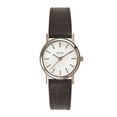 Bulova® Womens Classic Brown Leather Strap Watch 98V31