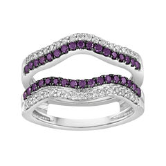 LIMITED QUANTITIES 3/4 CT. T.W. White and Color-Enhanced Purple Diamond Waved Enhancer Ring