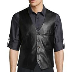 WD.NY BLACK Solid Faux Leather Vest