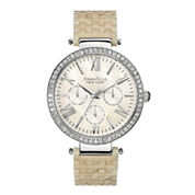 Caravelle New York® Womens Crystal-Accent White Resin Strap Watch 43N102