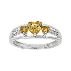 Genuine Citrine & Diamond-Accent Heart-Shaped 3-Stone Sterling Silver Ring