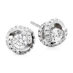 1/2 CT. T.W. Diamond Spiral 10K White Gold Stud Earrings