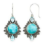 Genuine Larimar and Marcasite Sterling Silver Drop Earrings