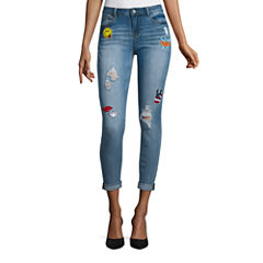 Vanilla Star Diy Patched Dbl Roll Cuff Skinny Jeans-Juniors