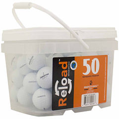 50 pack Bridgestone B330-RX Refinished Golf Balls in a reusable plastic bucket with handle.