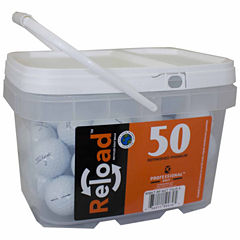 50 pack Titleist NXT Tour S Refinished Golf Balls in a reusable plastic bucket with handle.