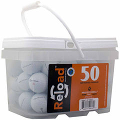 50 pack Taylormade Rocketballz Urethane Refinished Golf Balls in a reusable plastic bucket with handle.