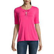 Liz Claiborne Elbow Sleeve Scoop Neck T-Shirt