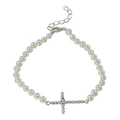 Cultured Freshwater Pearl Sparkle Bead Sideways Cross Bracelet