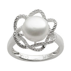 Cultured Freshwater Pearl & Diamond-Accent Ring