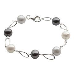 Sterling Silver Multi Color Fresh Water Pearl Bracelet