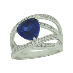 Lab-Created Blue & White Sapphire Crisscross Ring