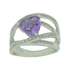 Genuine Amethyst & Lab-Created White Sapphire Sterling Silver Crossover Ring