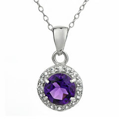Faceted Genuine Amethyst & White Topaz Sterling Silver Pendant Necklace