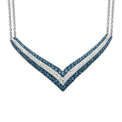 Blue & White Crystal Sterling Silver V-Necklace
