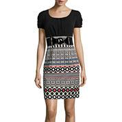 Alyx® Short-Sleeve Belted Geometric Print Sheath Dress