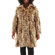 Excelled Faux-Fur Swing Coat - Plus