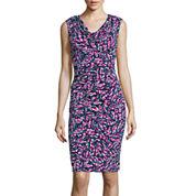 Black Label by Evan-Picone Cap-Sleeve Print Sheath Dress