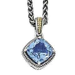 Shey Couture Genuine Blue Topaz Sterling Silver with 14K Yellow Gold Pendant Necklace