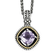 Shey Couture Pink Quartz Sterling Silver Antiqued Pendant Necklace