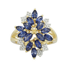 Lab-Created Blue and White Sapphire 14K Yellow Gold Over Sterling Silver Ring