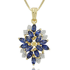 Lab-Created Blue and White Sapphire 14K Yellow Gold Over Sterling Silver Pendant Necklace