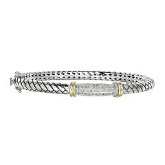 Shey Couture 1/5 CT. T. W. Diamond Sterling Silver Bangle Bracelet