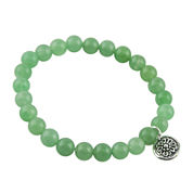 Art Smith by BARSE Genuine Green Aventurine Silver Over Brass Stretch Bracelet