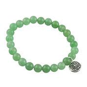 Art Smith by BARSE Genuine Green Aventurine Silver Over Brass Stretch Bracelet