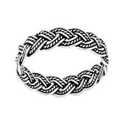 Antiqued Silver-Plated Braided Band Ring