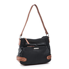 Stone And Co Kathryn Double Top-Zip Leather Shoulder Bag