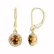 Yellow Citrine Gold Over Silver Drop Earrings