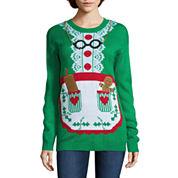 Tiara International Long Sleeve Crew Neck Acrylic Pullover Sweater