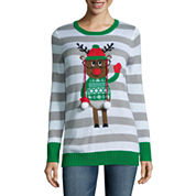 Tiara International Long Sleeve Crew Neck Pullover Sweater