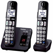 Panasonic KX-TGE232B Expandable Digital Cordless Answering System with 2 Handsets - Black