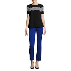 Worthington Short Sleeve Lace Trim Blouse and Slim Fit Ankle Pants
