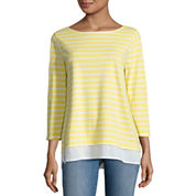 St. John`s Bay 3/4 Sleeve Boat Neck T-Shirt
