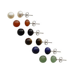 Genuine Gemstone & Cultured Freshwater Pearl Stud 6-pr. Earring Set