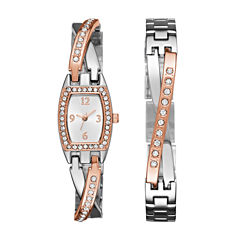 Geneva Womens Rose Gold and Silver-Tone Bangle Watch Boxed Set