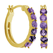 Sparkle Allure Purple Diamond Accent Gold Over Brass Hoop Earrings