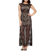 Bisou Bisou Short Sleeve Lace Maxi Dress