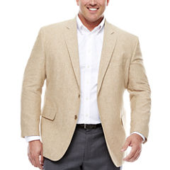 Stafford Linen Cotton Sand Sport Coat-Big and Tall